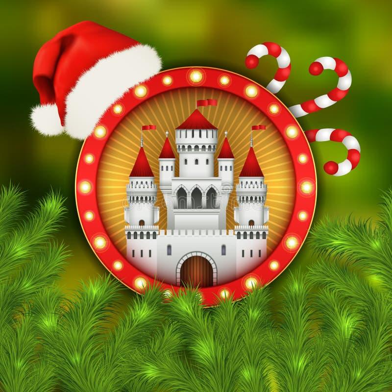 Vitt slott för jul, jultomtenlock och gran-träd royaltyfri illustrationer