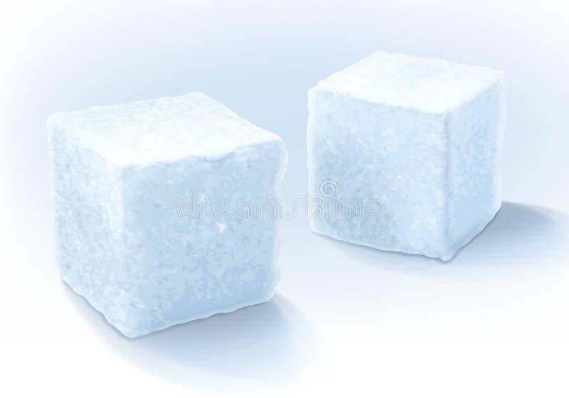Vitt socker skära i tärningar vektorillustrationen royaltyfri illustrationer