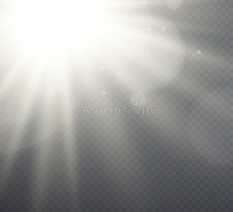 Vitt solljus för ljus effekt, strålar på genomskinlig bakgrund vektor illustrationer