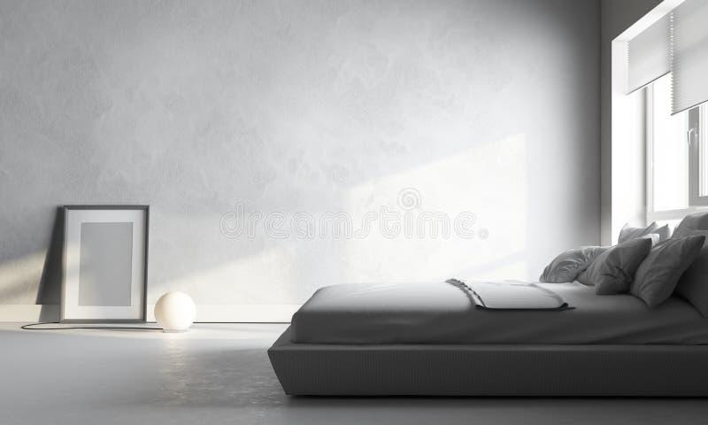 Vitt sovrum arkivbild