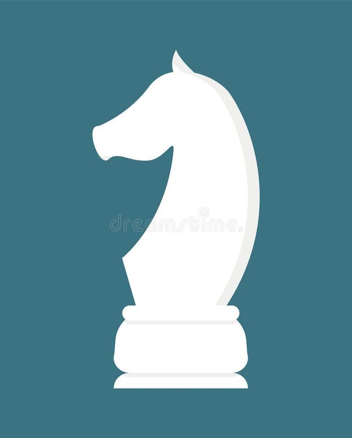 Vitt stycke för schackhäst som isoleras på blått vektor vektor illustrationer