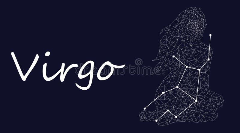 Vitt symbol av virgokonstellation på en djupblå bakgrund som omges av linjer och stjärnor royaltyfri illustrationer