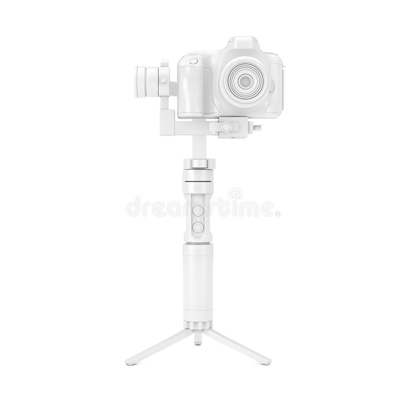 Vitt system för tripod för DSLR- eller videokameraGimbalstabilisering i Clay Style Mock Up framf?rande 3d royaltyfria bilder