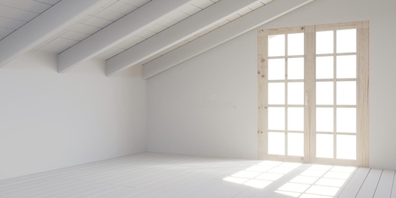 Vitt töm rum i loft stock illustrationer