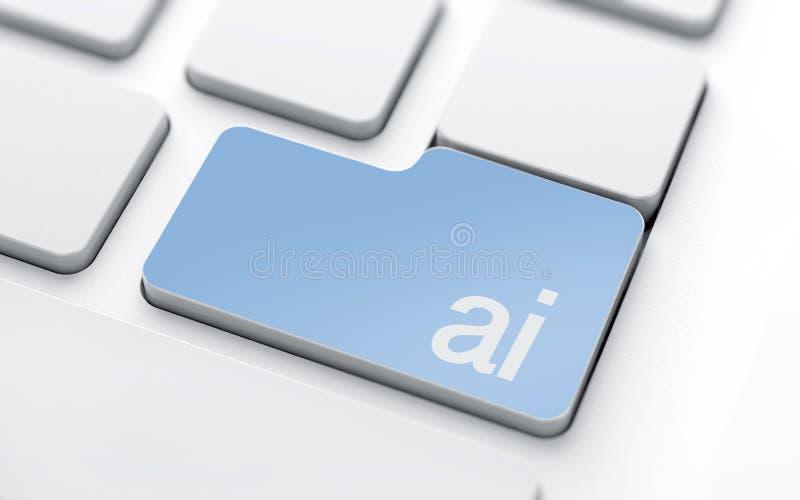 Vitt tangentbord med knappen för konstgjord intelligens stock illustrationer