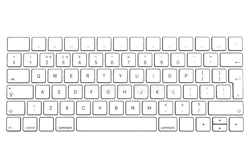 Vitt tangentbord som isoleras på vita bakgrunder, trådlöst tangentbord, tangentbord vektor illustrationer