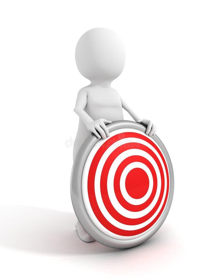 Vitt tecken för man som 3d rymmer det röda målet för tjuröga vektor illustrationer