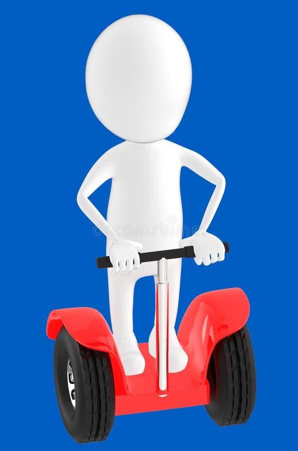 vitt tecken som 3d rider ett segway arkivfoton
