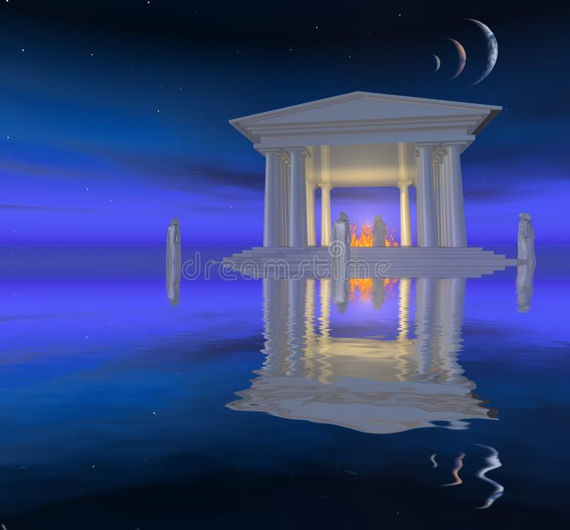 Vitt tempel vektor illustrationer