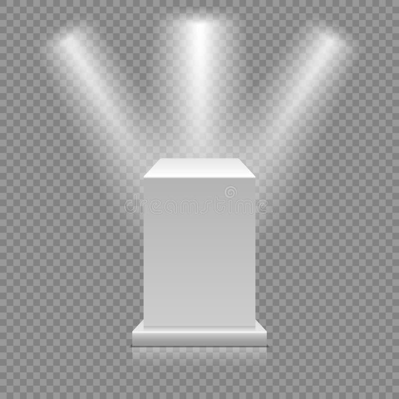 Vitt tomt podium på genomskinlig bakgrund Museumsockel med strålkastare vektor för illustration 3d royaltyfri illustrationer