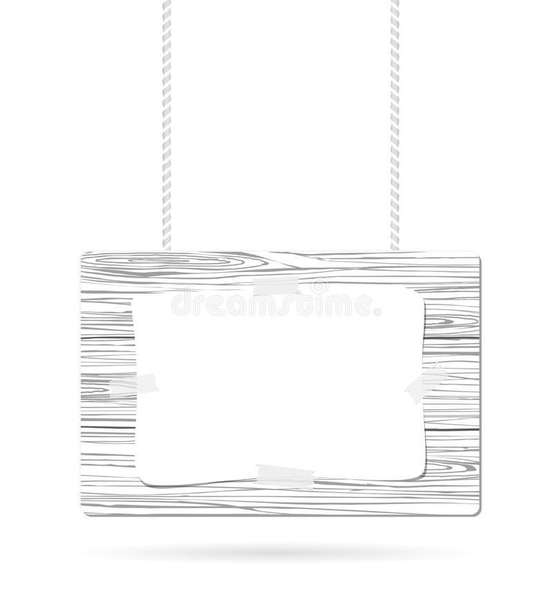 Vitt trätecken med repet och pappers- hänga med skugga vektor illustrationer