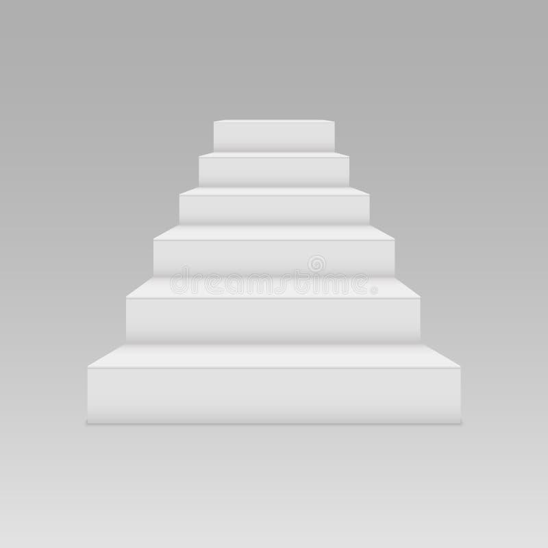 Vitt trappuppgångmellanrum på en ljus bakgrund Symbol av prestationerna stock illustrationer