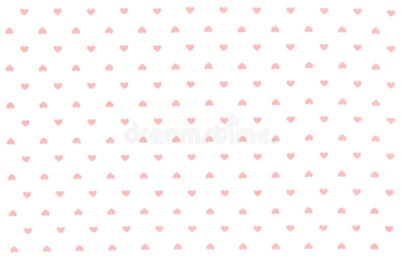 Vitt tyg med röda hjärtor mönstrar, texturerar, bakgrund stock illustrationer