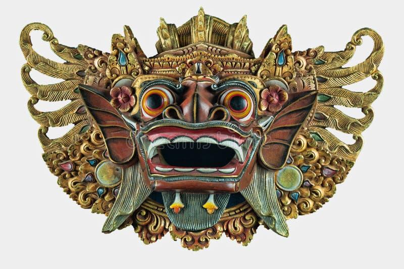 Vitt utklipp av Balinesedemonden trähängande maskeringen royaltyfri fotografi