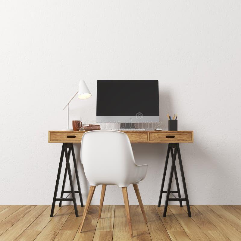 Vitt väggrum, datorskrivbord stock illustrationer