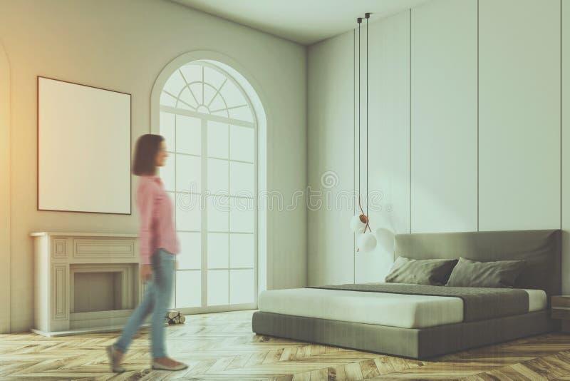 Vitt välvt fönstersovrumhörn, tonad affisch vektor illustrationer