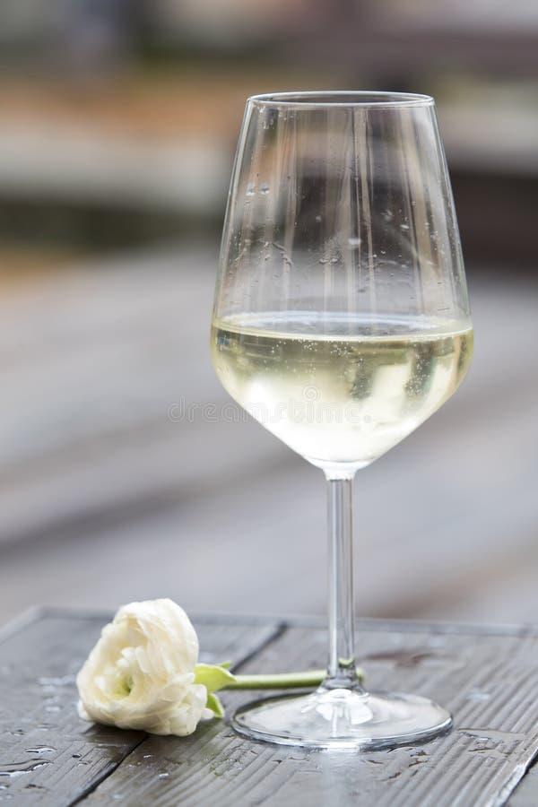 Vitt vin och steg arkivfoto