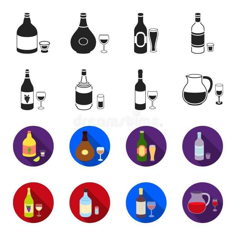 Vitt vin, rött vin, gin, sangria Fastställda samlingssymboler för alkohol i svart, rengöringsduk för illustration för materiel fö royaltyfri illustrationer