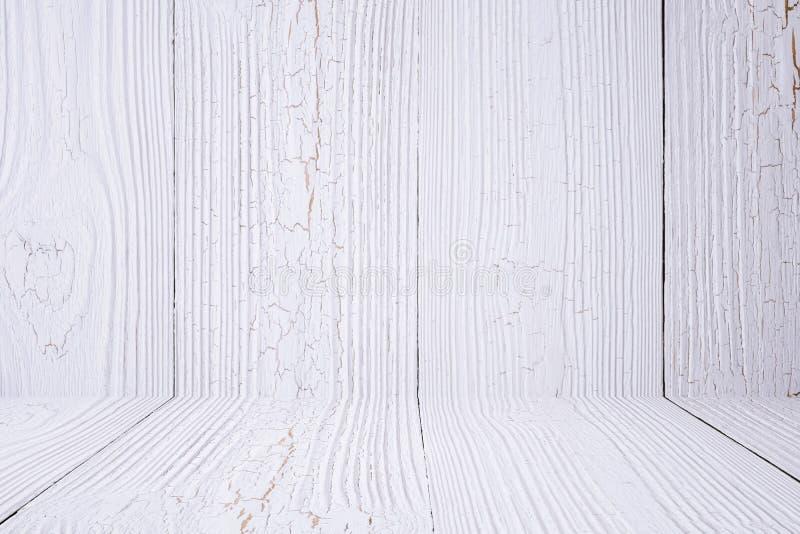 Vitt wood bakgrundsvägg och golv Trä texturera Yttersida D royaltyfri fotografi