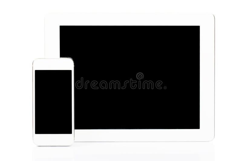 VittabletPC och smartphone arkivbilder