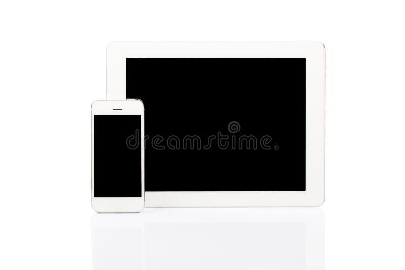 VittabletPC och smartphone arkivbild