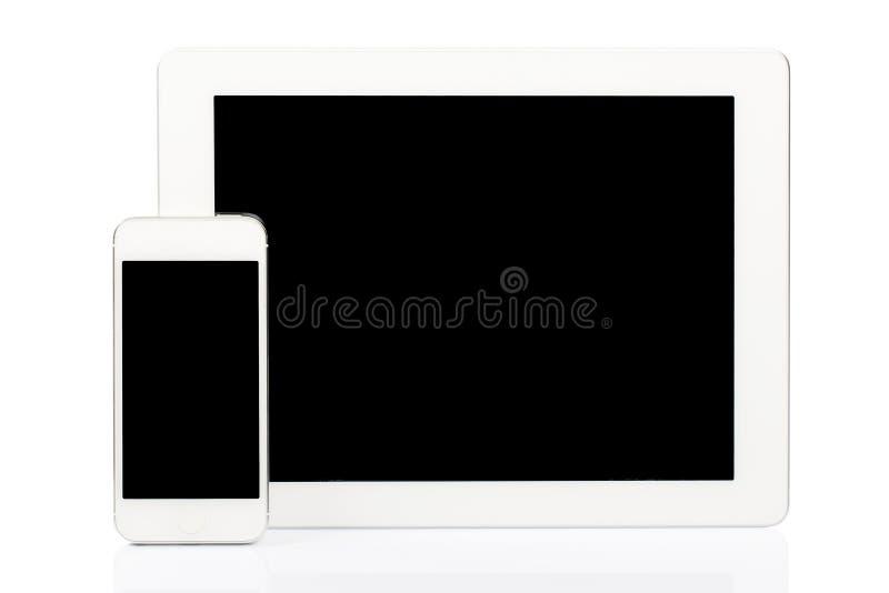 VittabletPC och smartphone royaltyfria foton
