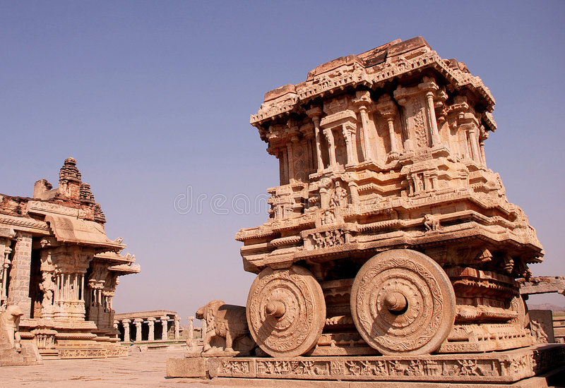 Vittala temple. This chariot is at the vittala temple at Hampi, in the karnataka state of India.This is situated just opposite the maha-mandapa royalty free stock image