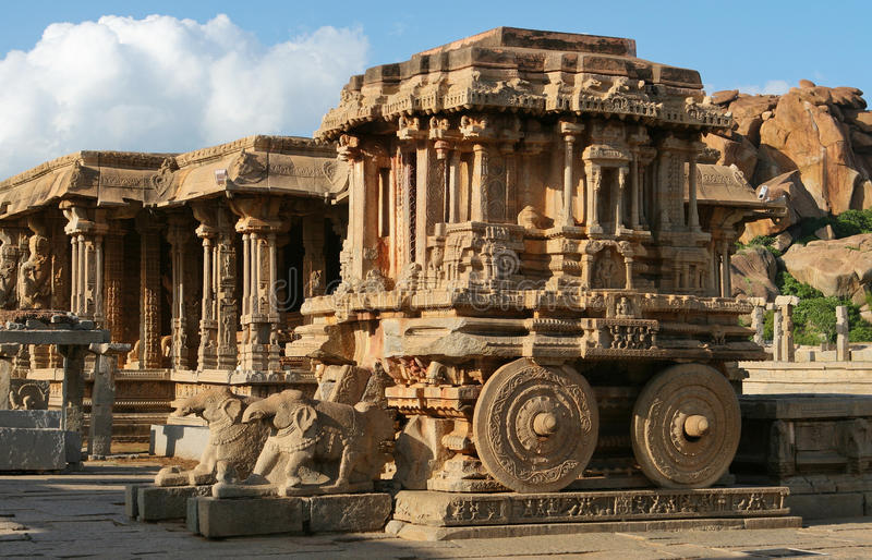 Vittala temple in Hampi. Stone chariot. Vittala temple. Hampi - UNESCO World Heritage Site. India stock image