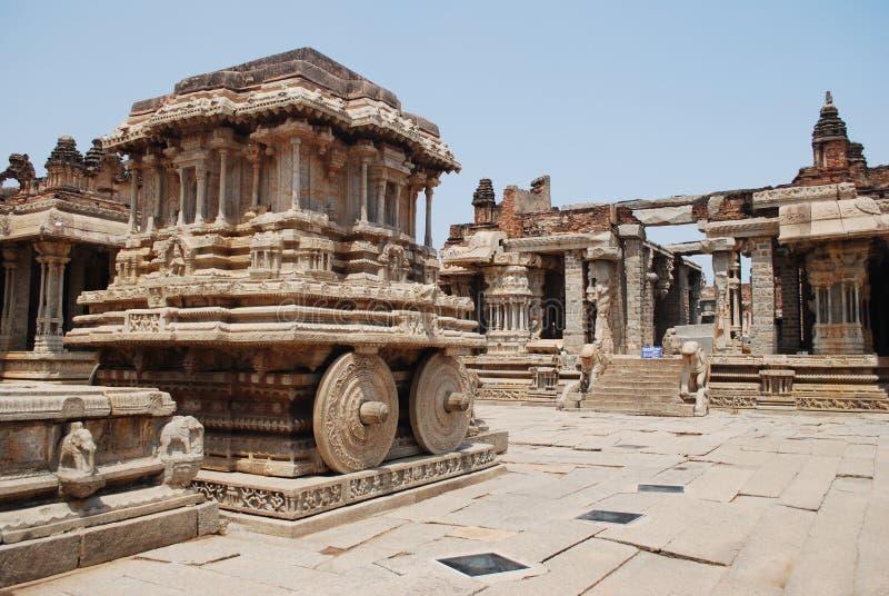 Vittala temple in Hampi. Stone chariot. Vittala temple. Hampi - UNESCO World Heritage Site. India stock photography