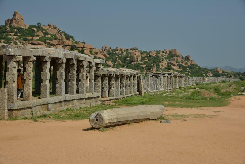 Vittalapura - sobras de um distrito que existisse em torno do templo de Vittala, Hampi, Índia fotos de stock royalty free