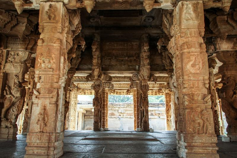 Inside the Vitthala temple and market complex on a scorching day, Hampi, Karnataka, India royalty free stock images