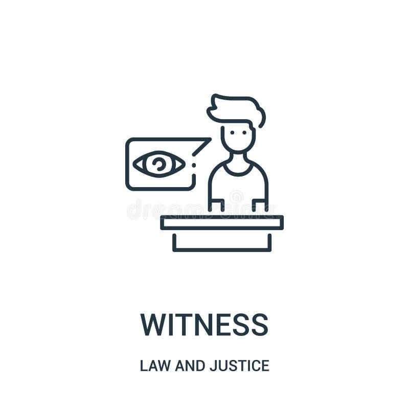 vittnesymbolsvektor från lag- och rättvisasamling Tunn linje illustration för vektor för vittneöversiktssymbol Linjärt symbol för royaltyfri illustrationer