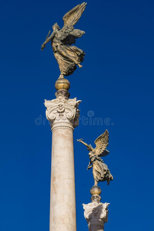 Vittoria alata statue at Altar of the Fatherland in Rome. Italy stock photo