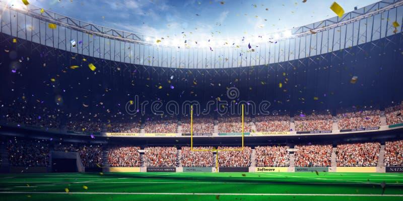 Vittoria di campionato di giorno dello stadio dell'arena di calcio Tonalità blu immagine stock