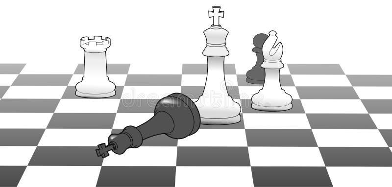 Vittoria di strategia del gioco di vittoria del re di scacchi illustrazione vettoriale