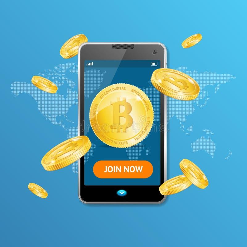 Vittoria dorata di concetto di estrazione mineraria di Bitcoin Vettore illustrazione vettoriale