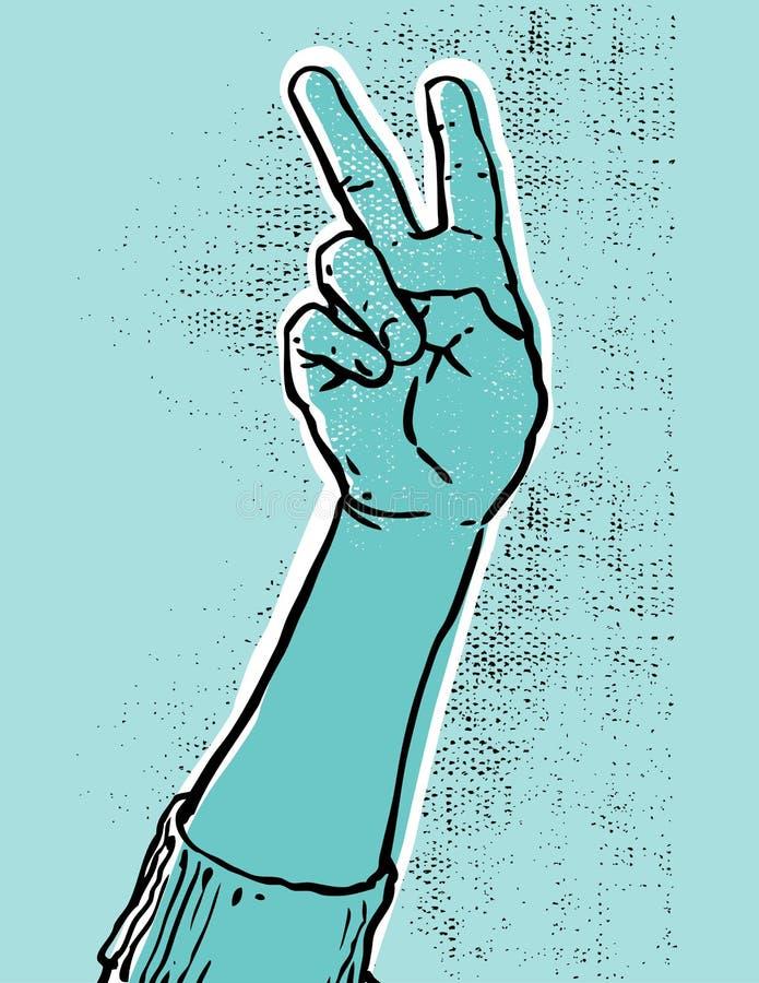 Vittoria hand- blu illustrazione di stock