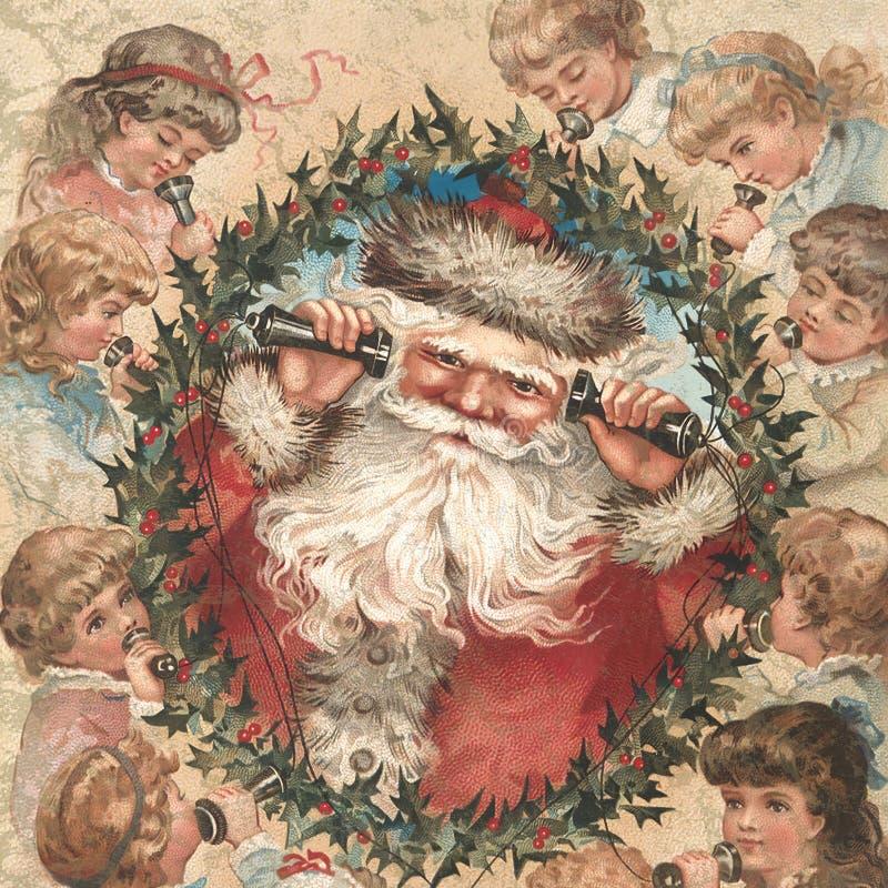 Vittoriano d'annata - Natale - agrifoglio - struttura del fondo - Santa - bambini - carta di Digital - elaborazione di festa illustrazione vettoriale