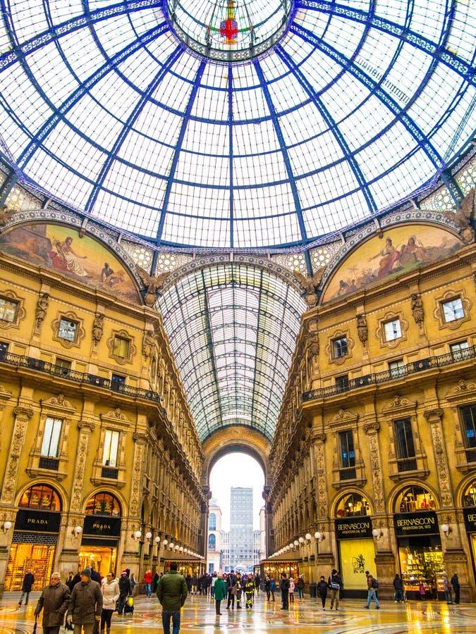 Vittorio Emanuele Galleries, Milão Fotografia Editorial