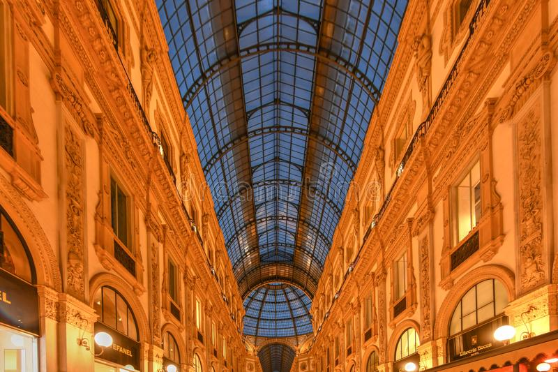 Vittorio Emanuele II Gallery - Milan, Italy. Milan Vittorio Emanuele II Gallery in Milan, Italy. It is Italy`s oldest active shopping mall and a major landmark royalty free stock images