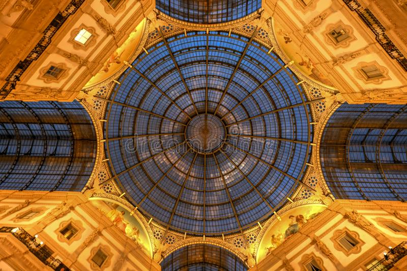Vittorio Emanuele II Gallery - Milan, Italy. Milan Vittorio Emanuele II Gallery in Milan, Italy. It is Italy`s oldest active shopping mall and a major landmark stock images