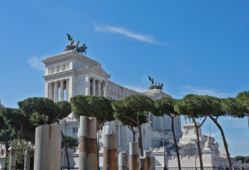 The Vittorio Emanuele II Monument also known as the Vittoriano, or Altare della Patria, built between the Piazza Venezia The. Venice Square and the Capitoline royalty free stock photos