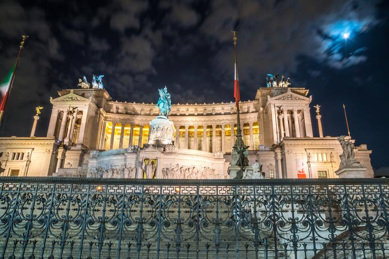 Vittorio Emmanuel II Monument on Venice square in Rome at night, Italy royalty free stock images