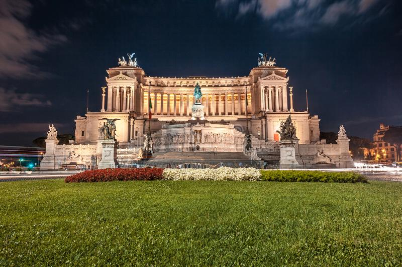Vittorio Emmanuel II Monument on Venice square in Rome at night, Italy stock photo