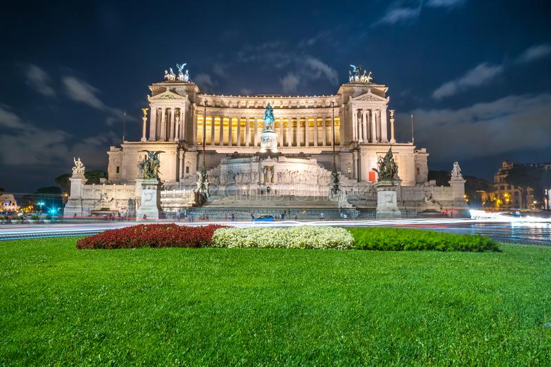 Vittorio Emmanuel II Monument on Venice square in Rome at night, Italy royalty free stock image