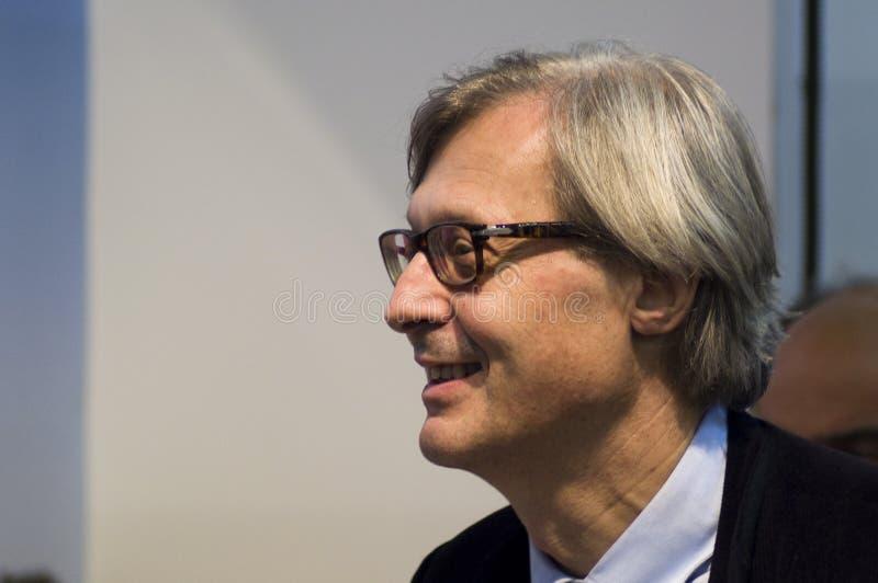 Vittorio Sgarbi en el DÍGITO BINARIO 2010 imagenes de archivo