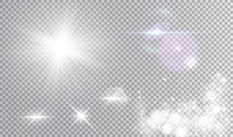 Vituppsättning av olika ljusa effekter stock illustrationer