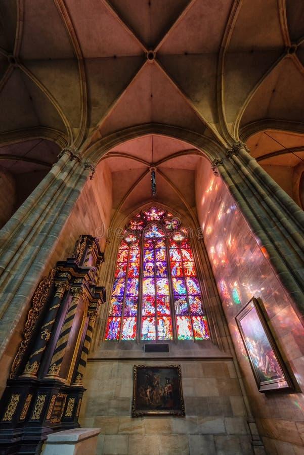 Vituskathedraal van Praag st in het kasteel dat van Praag wordt gevestigd stock afbeelding