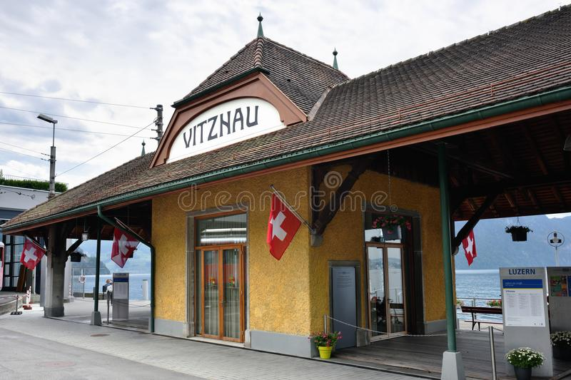 Vitznau station, Switzerland royalty free stock images