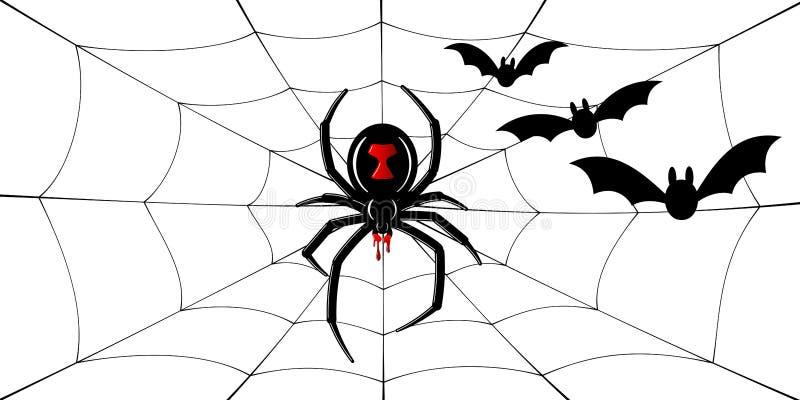 Viuda negra de la araña, telaraña, palos Araña negra roja 3D, spiderweb, fondo blanco aislado Decoraci?n asustadiza de Halloween libre illustration